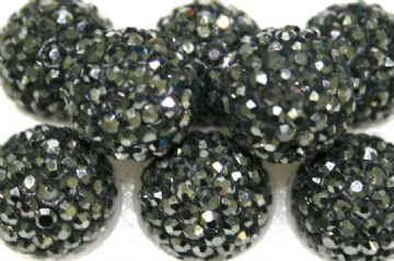 12mm Hematite 130 Stone  Pave Crystal Beads - Half Drilled  PCBHD12-130-002